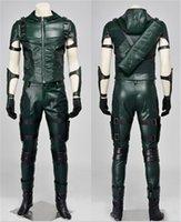 arrow tv s - Superhero Green Arrow season Cosplay Costumes Oliver Queen green arrow leather costume Halloween Uniform for adult men Custom made