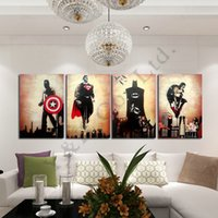 batman comic pictures - Hand painted Abstract Marvel Comics Heroes Oil Painting On Canvas Retro Movie Star Batman Hulk Captain America Thor Poster