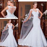Wholesale Sheer Sparkle Wedding Dress - Elegant Lace Mermaid Wedding Dresses with Wrap Illusion Necklines Court Train Sparkle Beaded Sequins 2016 Modest Bridal Gowns Cheap