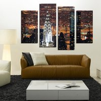 wholesale fashion in new york - 4 Piece Wall Art New York City Manhattan USA With Lights In Nice Night Scene Print On Canvas The Picture City Pictures No Frame