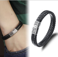 Wholesale 8 quot Top Quanlity Silver Stainles Steel Black Brown Leather Weave Bracelet Favorite Xmas Gift For Men