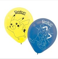 Wholesale 2016 New Pikachu Pocket Monsters Birthday Party Blue Yellow Printed Latex Balloons Latex Balloons Baby Party Decorations Supplies Kids Gift
