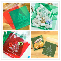 Wholesale 100 set Hot New Green Christmas Tree Biscuit Bag Candy Bags Bakery Food Packing Organizador JF