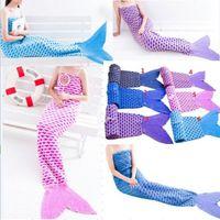 Wholesale 6 Styles cm Adult Mermaid Tail Blankets mermaid Sleeping bags soft sofa blanket Bed Warmer Blanket design