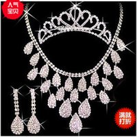 antique bridal necklace - European and American trade diamond jewelry bridal headdress three piece bridal jewelry sets necklace marriage accessories