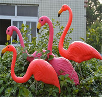 Wholesale Pink Plastic flamingos garden accessories crafts landscape home decor Yard and lawn ornament wedding jardin decoration in Garden Ornaments