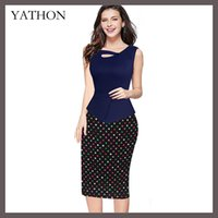 Wholesale New Women Chic Sleeveless Work Pencil Dress Print Floral Button Patchwork Zip Back Ruffle Stretch Casual Sheath Dresses Plus Size S XL