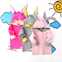 baby girl blocks - Cute Kids Rabbit Ear Hooded Pullover Block Color Knit Jumper Tops Baby Children Autumn Sweater Preppy Style Clothing