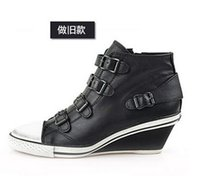 ash genial - Women s Ash Genial Small Wedge Sneakers Distressed Black Genuine Leather ASH Trainers Sheepskin Fashion Tide ASH High top Wedge Sneaker Shoe