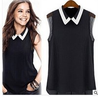 bell vest - Ms European and American fashion hot style black and white collar female chiffon blouse Sleeveless vest manufacturers selling