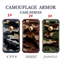 Wholesale For iPhone Camouflage Armor Case For iPhone6S Cases Armor Hybrid Hard Plastic TPU Casefor iPhone6S plus Back Cover Case Opp Bag