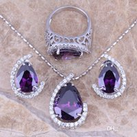 bags amethyst jewelry - Purple Amethyst White Topaz Silver Jewelry Sets Earrings Pendant Ring For Women Size Free Gift Bag S0004