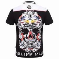 Wholesale 2016 Hot Sale Short PoloShirt Fit Slim Style T shirt Casual MENS Tee Print Skull Mens TShirts PP1020