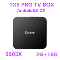 Wholesale 10PCS TX5 PRO Amlogic S905X Android6 Smart TV BOX GB GB Quad Core G G WiFi K BT4 Android box