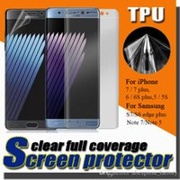 Wholesale Premium Full Coverage Curved Soft TPU Anti Shock Screen Protector For iPhone S plus S Samsung Note S7 S6 Edge Free DHL MOQ