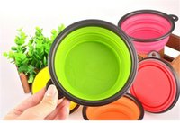 Wholesale 300pcs colors Pet Dog bowl Floding Silicone Frisbee Collapsible Feeding Water Feeder Travel Bowl Dish Cats bowl Dog Supplies D627
