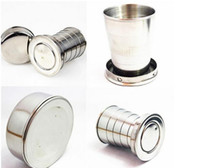 Wholesale NEW ml Mini Stainless steel telescopic fold folded glass glass cup Hip Flasks scaling Hip Flasks