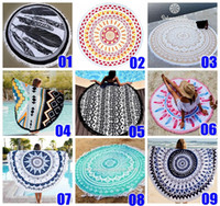 Wholesale 14 Types Polyester Round Tassel Beach Towel cm Bath Towel Tassel Decor Geometric Printed Bath Towel Summer Style