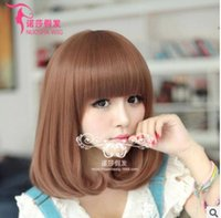 Wholesale Blonde Short Dark Brown Wig Perruque Naturelle Courte Synthetic Women Cute Fringe Straight Bob Cosplay Wig Heat Resistant Hair