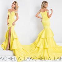 Wholesale Rachel Allan Mermaid Prom Dresses Off Shoulder Neckline Split Evening Gowns Full Length Beads Light Yellow Prom Gowns