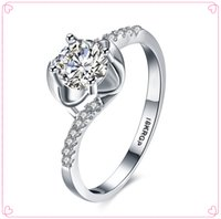 Wholesale New Alloy with18k White Gold Plated CZ Zirconia Womens Wedding Rings Classic Jewelry Engagement rings