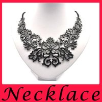 Wholesale Fashion Black Plated Hollow Flower Shorts False Collar Statement Necklaces Pendants Vintage Jewelry Wedding For Women Girls Alloy
