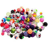 Wholesale 50 Mix Color Stainless Acrylic Ball Barbell Bar Belly Button Ring C00348 SMAD