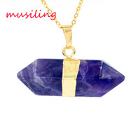 big pendulum - Gold Plated Natural Stone Pendant Pendulum Mens Jewelry Big Hexagonal prism Mascot Reiki Charms Amulet European Fashion Jewelry