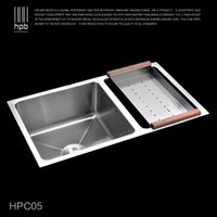 Wholesale Han Pai Stainless Steel Double Bowel Thicken Square Brushed Artesanato Kitchen Sink Faucet Fregadero HPC05
