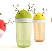 360ml BPA Antler allaitement Coupe de paille Cartoon Baby Cup Bouteille d'eau potable Bouteilles Coupes Bolsa Termica non-toxiques