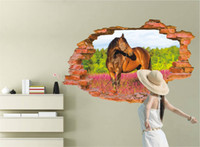 Wholesale 3D Window View Horse Pink Flowers Wall Sticker Home Decor Decals Living Room Bedroom Bathroom Removable Art Mural DIY