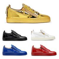 achat en gros de chaussures à fermeture éclair pour les hommes-Europe Amérique Hommes Designer Shoes Zipper plat cuir pour hommes Souliers simples de femme Chaussures Low Top Sneakers Mode Hommes Livraison gratuite