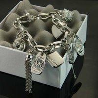 alloy padlock - Michael Kores MK style High Quality charms bracelets padlock Key love crystal pendants charm brand jewelry for men women silver gold