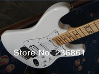 Wholesale HOT New style F St Stratocaster five star fingerboard sambora signature Natural wood white Electric Guitar