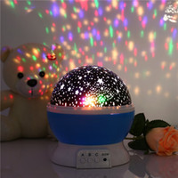 Wholesale Romantic Room Novelty Night Light Projector Lamp Rotary Flashing Starry Star Moon Sky Star Projector Kids Children Baby