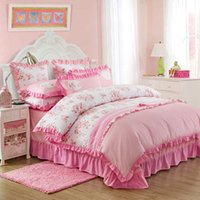 Wholesale Pink color bedclothes princess girls bedding set for single double bed Lace cotton duvet cover sets without comforter bed sheet