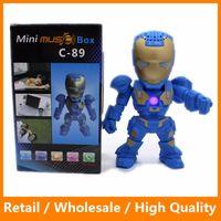 arm audio - C Iron Man Bluetooth Speaker With LED Flash Light Deformed Arm Figure Robot Portable Mini Wireless Subwoofers TF FM USB Card