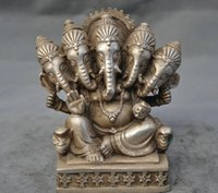 antique elephant statue - Chinese old Handwork Silver Copper Heads elephant Buddha heads statue