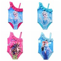 Wholesale Kids Swimsuit Y Girls Elsa Swim Costume Anna Swimwear Children Sunbath Beachwear Frozen Bikini Bathing Suits for Girls