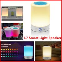 audio timer - Newest Night Light L7 LED Lamp Bluetooth Speaker Touch Induction Change Colour Romatic Lamp Hands free Timer TF Card FM Radio Speakerphone