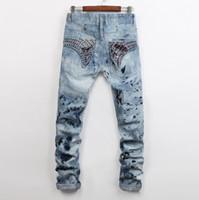 Wholesale New Robin Men s Designer Jeans Long Flag Crystal Snowflake Slim Skinny Denim Mens Pant Trousers Jeans