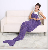 Wholesale 190cm cm Woven wool carpets Mermaid carpets Fish tail carpets Sofa blanket Air conditioning blanket sofa home chair cat Blankets