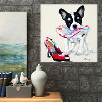 animal bite pictures - Little Dog Bite High heel Wall Pictures Abstract Modern Canvas Wall Art Bedroom Decor Picture Hand painted Oil Painting