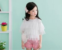baby princess tees - 2016 Summer Children Girls Tiered Gauze Fashion Design Tops Lace Baby Girls White Pink Shirts Wear Girls Shirt Princess Veil Tee Shirt B4129