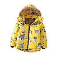 Wholesale Warm Jacket Kids Minion Down Jacket For Boy Baby Minion Clothes Winter Down Coat Warm Baby Snowsuit Children Girl Hooded Short Coat MC0169