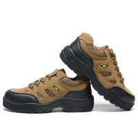 best climbing boots - Men s Fashionable Climbing Work Safety Shoes Protective Boots Smash proof Penetration resistant Khaki Shoes Steel Toe Best Selling
