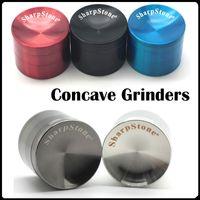achat en gros de meuleuse tabacco-Concave Sharpstone Grinders Grinder de qualité supérieure 40/50/55 / 63mm 4 couches avec / sans logo / OEM Zinc Alloy Concave Surface Tabacco