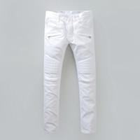 Wholesale 2016 Balmain Jeans Homme In White Skinny For Men Check Detail On Knee