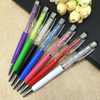 Wholesale Crystal Pen Diamond Ballpoint Pens Stationery ballpen in Capacitive stylus pen touch pen for ipad iPhone plus HTC Samsung i9500 note3
