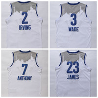 wade - East All Stars Basketballl Jerseys Dwyane Wade LeBron James Jimmy Butler Carmelo Anthony Kyrie Irving John Wall Stitched Shirt